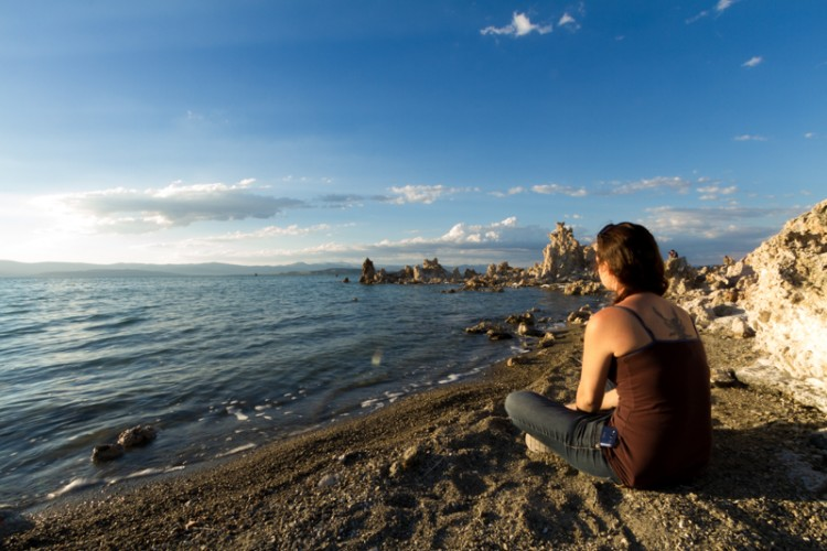 mono lake, girl sitting at waters edge, california, travel , indietravel, slow travel