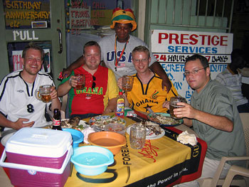 Tourists drinking at Duncan's in Accra