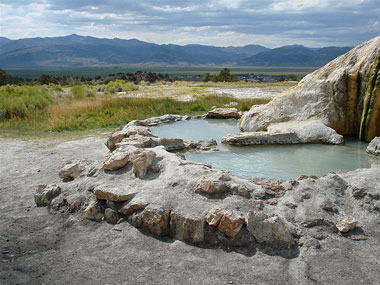 Travertine is one of the most accessible hot springs in the region