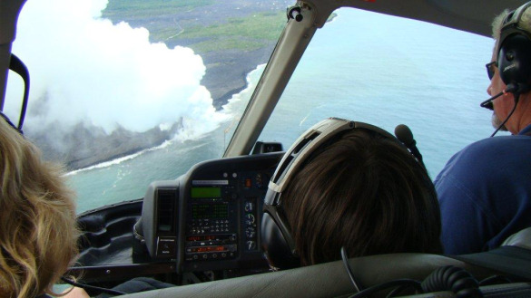 Lava hunting by helicopter on the Big Island in Hawaii