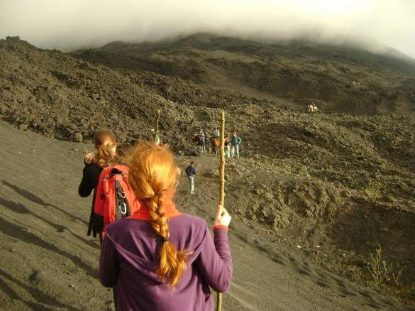 Hiking along the baren slopes of Pacaya
