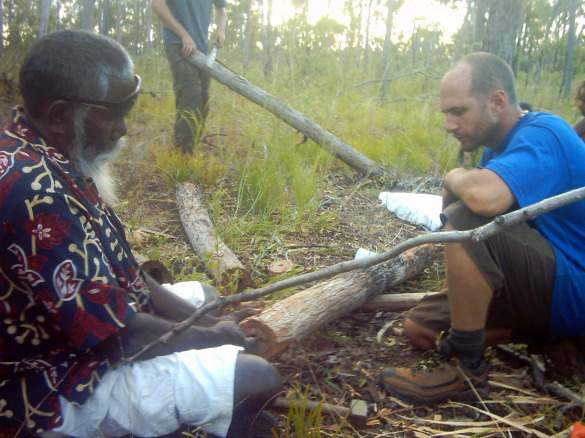 Carving didgeridoos with an Aboriginal Elder