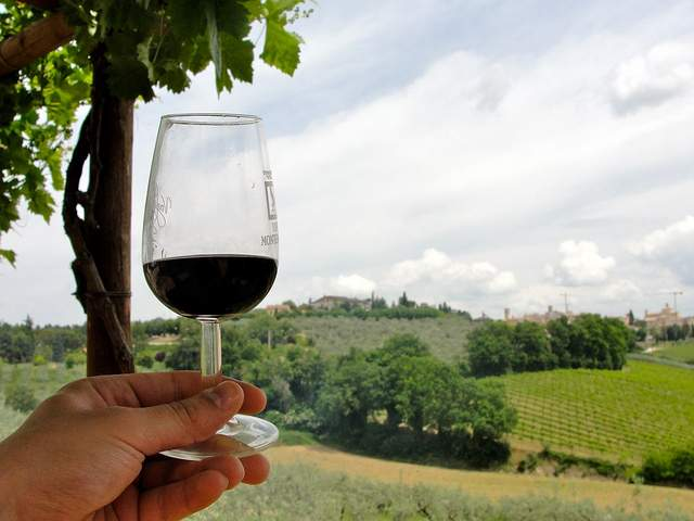 Montefalco and a glass of wine