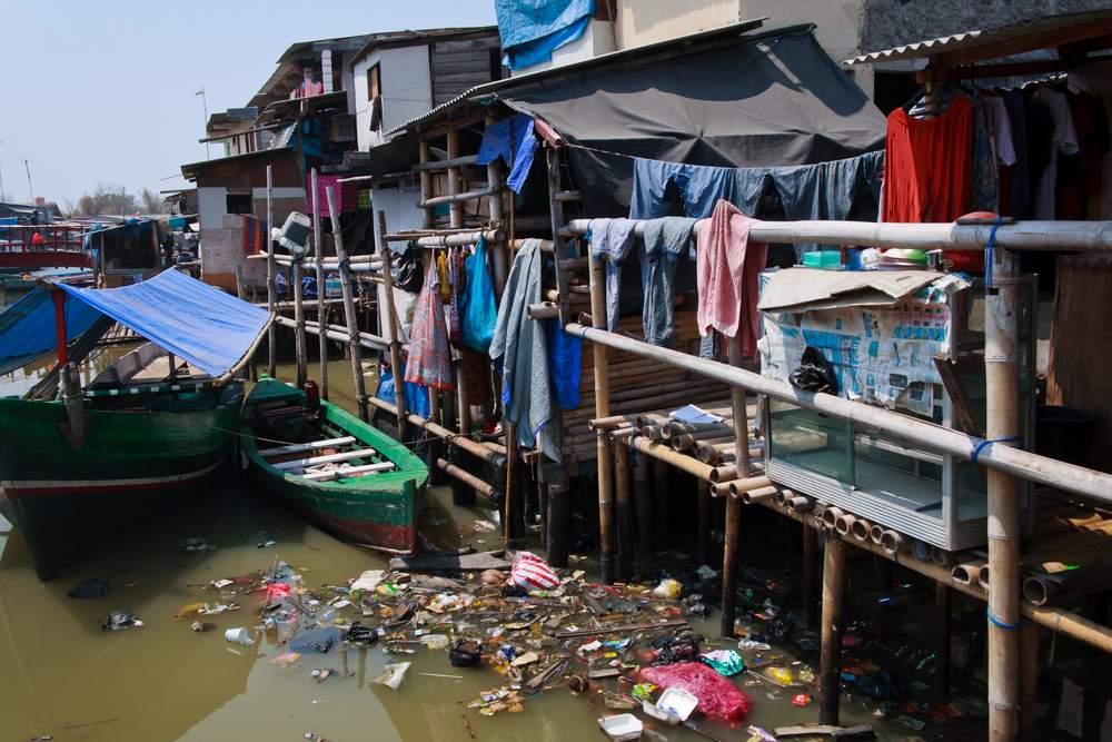 poor neighborhood in Jakarta, Indonesia
