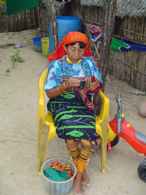Kuna Woman Sewing Mola