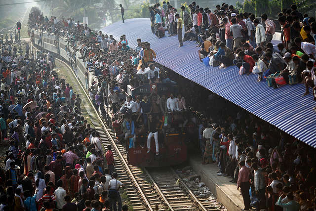 Overcrowded public transport