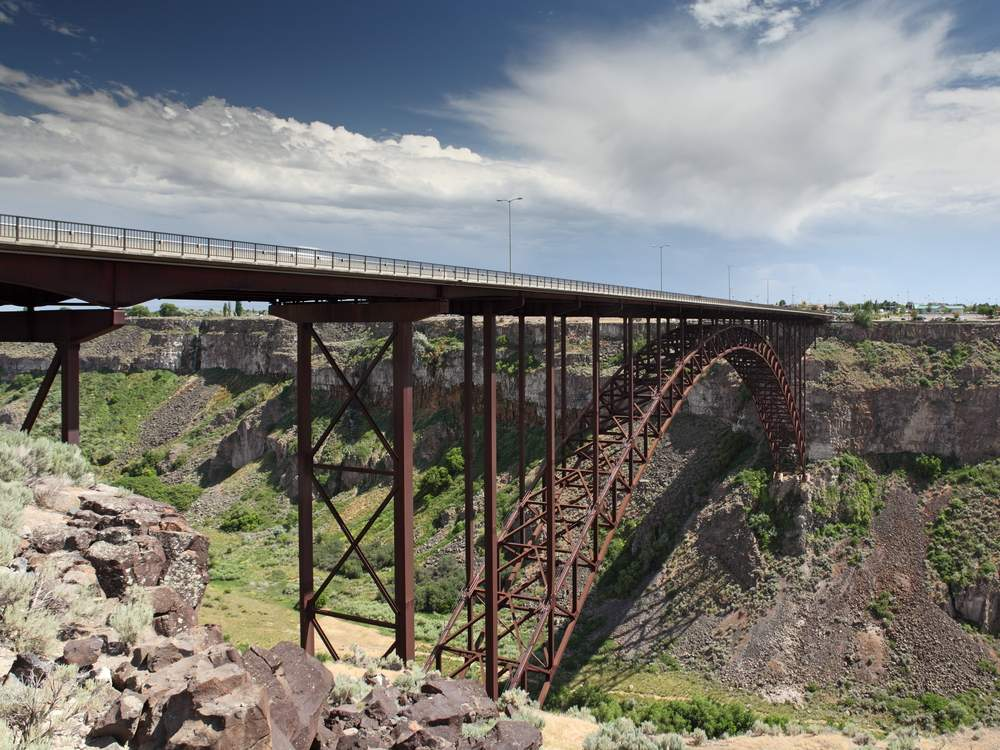 base jump off the only bridge in the U.S. where it's legal in Idaho