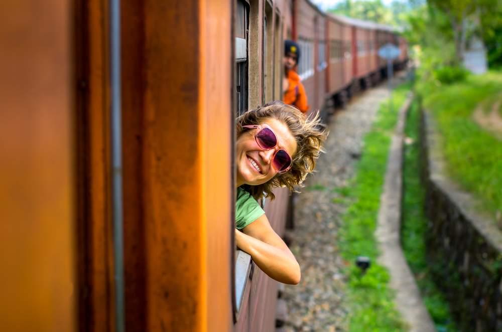 Train tix in India, female traveler