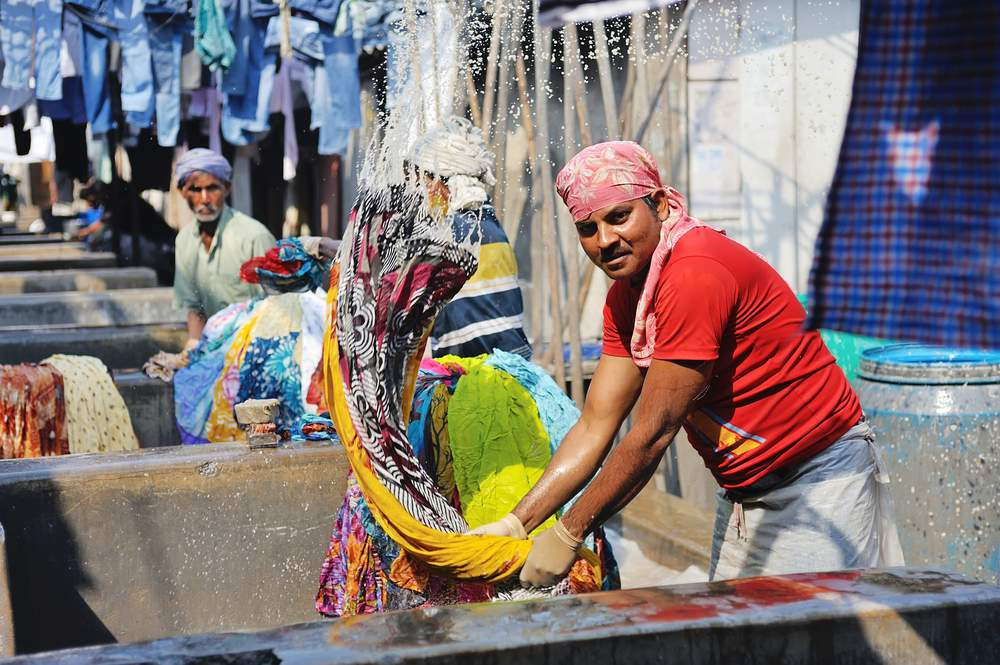 Laundering clothes in India