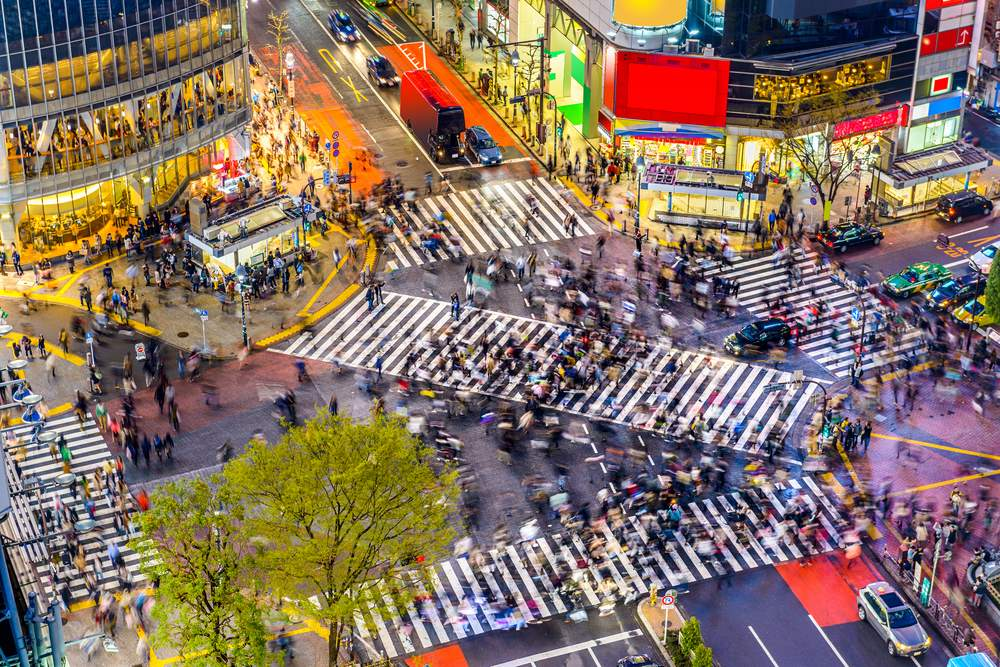 Tokyo, Japan, home to Shibuya Crossing, one of the world's busiest crosswalks