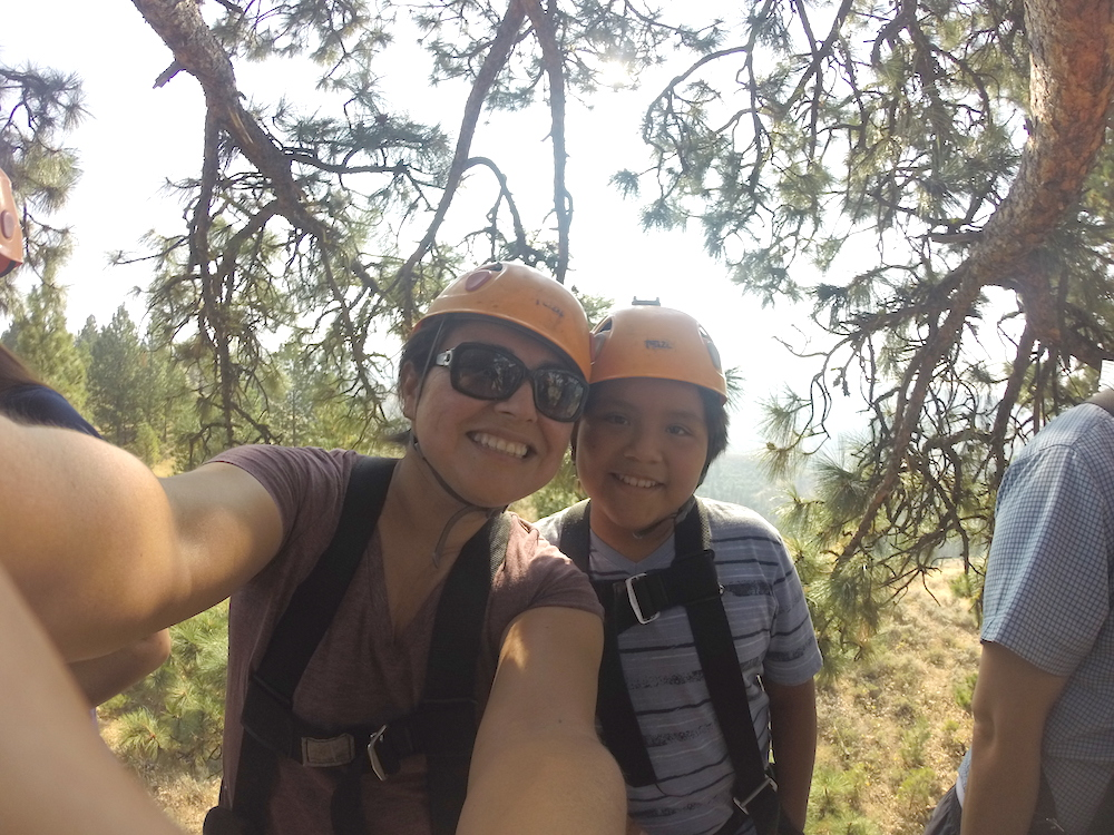 Mother and Son Ziplining
